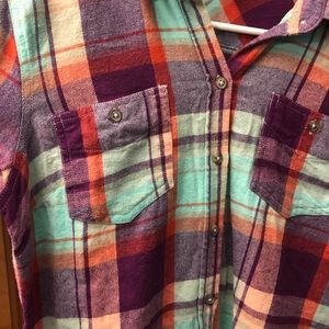 Purple teal and orange button down flannel top